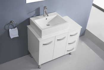 "Virtu USA-Tilda 36"" Single Bathroom Vanity in White with White Engineered Stone Top and Square Sink with Brushed Nickel Faucet and Mirror"