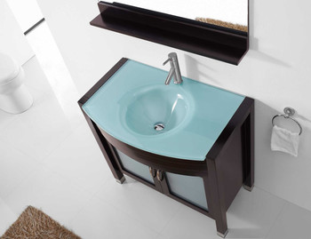 "Virtu USA-Ava 36"" Single Bathroom Vanity in Espresso with Aqua Tempered Glass Top and Round Sink with Polished Chrome Faucet and Mirror"