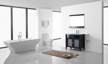 "Virtu USA-Ava 36"" Single Bathroom Vanity in Espresso with Aqua Tempered Glass Top and Round Sink with Brushed Nickel Faucet and Mirror"