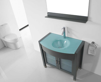 "Virtu USA-Ava 36"" Single Bathroom Vanity in Grey with Aqua Tempered Glass Top and Round Sink with Brushed Nickel Faucet and Mirror"