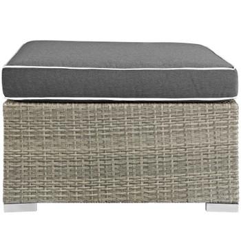 Repose Outdoor Patio Upholstered Fabric Ottoman EEI-2962-LGR-CHA Light Gray Charcoal