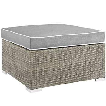 Repose Outdoor Patio Upholstered Fabric Ottoman EEI-2962-LGR-GRY Light Gray Gray