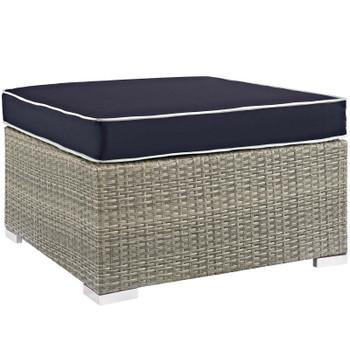 Repose Outdoor Patio Upholstered Fabric Ottoman EEI-2962-LGR-NAV Light Gray Navy