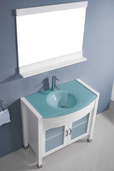 "Virtu USA-Ava 36"" Single Bathroom Vanity in White with Aqua Tempered Glass Top and Round Sink with Polished Chrome Faucet and Mirror"
