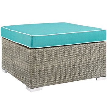Repose Outdoor Patio Upholstered Fabric Ottoman EEI-2962-LGR-TRQ Light Gray Turquoise