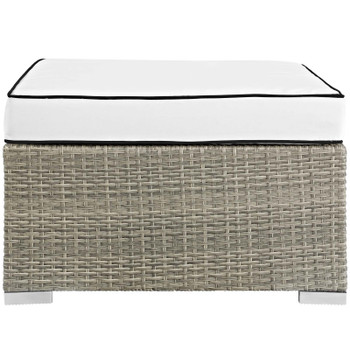 Repose Outdoor Patio Upholstered Fabric Ottoman EEI-2962-LGR-WHI Light Gray White