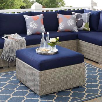 Repose Sunbrella® Fabric Outdoor Patio Ottoman EEI-2963-LGR-NAV Light Gray Navy