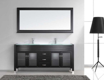 "Virtu USA-Ava 71"" Double Bathroom Vanity in Espresso with Aqua Tempered Glass Top and  Sink with Polished Chrome Faucet and Mirror"