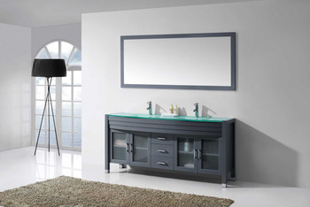 "Virtu USA-Ava 71"" Double Bathroom Vanity in Grey with Aqua Tempered Glass Top and  Sink with Polished Chrome Faucet and Mirror"