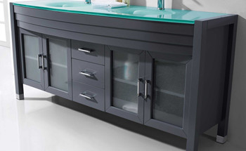 "Virtu USA-Ava 71"" Double Bathroom Vanity in Grey with Aqua Tempered Glass Top and  Sink with Brushed Nickel Faucet and Mirror"