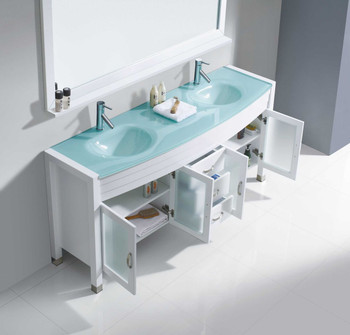 """Virtu USA-Ava 71"""" Double Bathroom Vanity in White with Aqua Tempered Glass Top and  Sink with Polished Chrome Faucet and Mirror"""