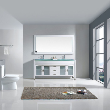"""Virtu USA-Ava 71"""" Double Bathroom Vanity in White with Aqua Tempered Glass Top and  Sink with Brushed Nickel Faucet and Mirror"""