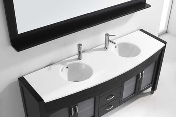"Virtu USA-Ava 71"" Double Bathroom Vanity in Espresso with White Engineered Stone Top and Round Sink with Brushed Nickel Faucet and Mirror"