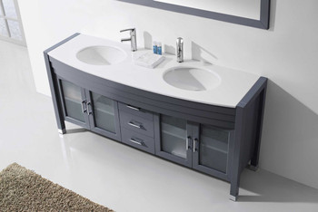 "Virtu USA-Ava 71"" Double Bathroom Vanity in Grey with White Engineered Stone Top and Round Sink with Polished Chrome Faucet and Mirror"