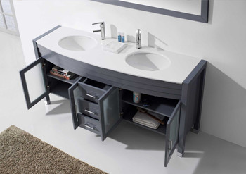 "Virtu USA-Ava 71"" Double Bathroom Vanity in Grey with White Engineered Stone Top and Round Sink with Brushed Nickel Faucet and Mirror"