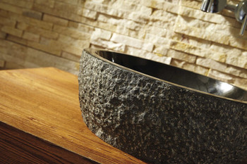 Virtu USA Melia-VST-2101-BAS- Natural Stone Bathroom Vessel Sink in Shanxi Black Granite