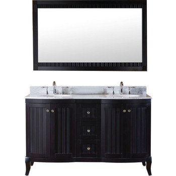 "Virtu USA-ED-52060-WMRO-ES-Khaleesi 60"" Double Bathroom Vanity in Espresso with Marble Top and Round Sink with Mirror"