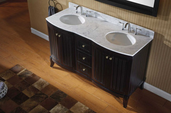 "Virtu USA-ED-52060-WMRO-ES-001-Khaleesi 60"" Double Bathroom Vanity in Espresso with Marble Top and Round Sink with Brushed Nickel Faucet and Mirror"