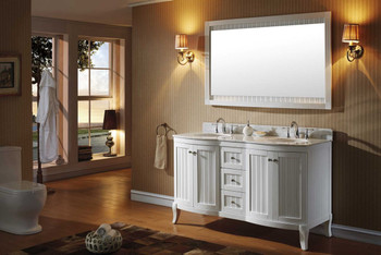 """Virtu USA-ED-52060-WMRO-WH-002-Khaleesi 60"""" Double Bathroom Vanity in White with Marble Top and Round Sink with Polished Chrome Faucet and Mirror"""