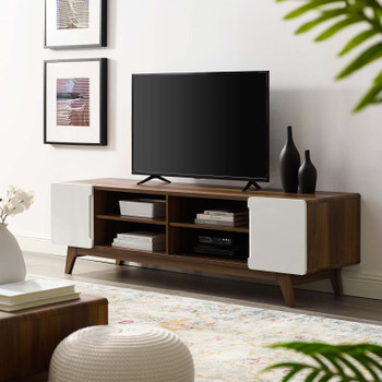 "Tread 70"" Media Console TV Stand EEI-3306-WAL-WHI Walnut White"