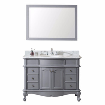 "Virtu USA-ES-27048-WMRO-GR-Norhaven 48"" Single Bathroom Vanity in Grey with Marble Top and Round Sink with Mirror"