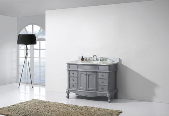 "Virtu USA-ES-27048-WMRO-GR-NM-Norhaven 48"" Single Bathroom Vanity in Grey with Marble Top and Round Sink"