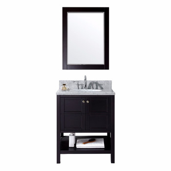 "Virtu USA-ES-30030-WMRO-ES-Winterfell 30"" Single Bathroom Vanity in Espresso with Marble Top and Round Sink with Mirror"