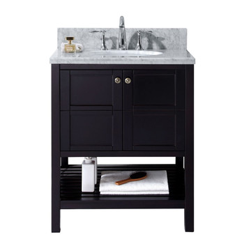 "Virtu USA-ES-30030-WMRO-ES-NM-Winterfell 30"" Single Bathroom Vanity in Espresso with Marble Top and Round Sink"