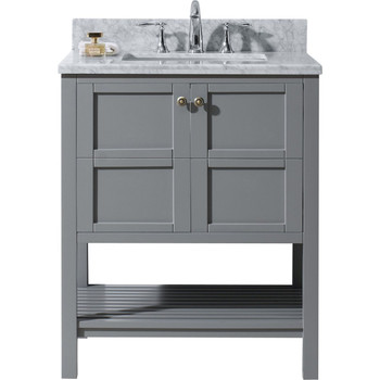 "Virtu USA-ES-30030-WMRO-GR-Winterfell 30"" Single Bathroom Vanity in Grey with Marble Top and Round Sink with Mirror"