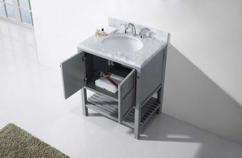 "Virtu USA-ES-30030-WMRO-GR-NM-Winterfell 30"" Single Bathroom Vanity in Grey with Marble Top and Round Sink"
