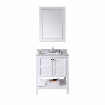"Virtu USA-ES-30030-WMRO-WH-Winterfell 30"" Single Bathroom Vanity in White with Marble Top and Round Sink with Mirror"