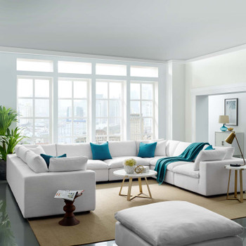 Commix Down Filled Overstuffed 8 Piece Sectional Sofa Set EEI-3363-WHI White