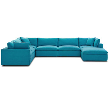 Commix Down Filled Overstuffed 7 Piece Sectional Sofa Set EEI-3364-TEA Teal