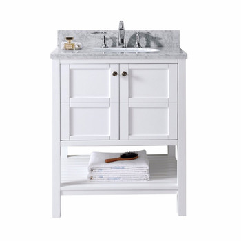 "Virtu USA-ES-30030-WMRO-WH-NM-Winterfell 30"" Single Bathroom Vanity in White with Marble Top and Round Sink"