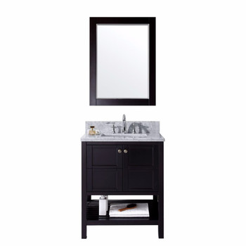 """Virtu USA-ES-30030-WMSQ-ES-Winterfell 30"""" Single Bathroom Vanity in Espresso with Marble Top and Square Sink with Mirror"""