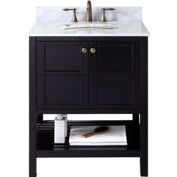 "Virtu USA-ES-30030-WMSQ-ES-NM-Winterfell 30"" Single Bathroom Vanity in Espresso with Marble Top and Square Sink"