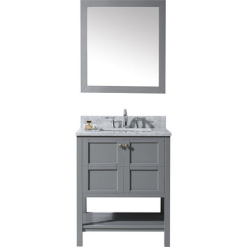 "Virtu USA-ES-30030-WMSQ-GR-Winterfell 30"" Single Bathroom Vanity in Grey with Marble Top and Square Sink with Mirror"