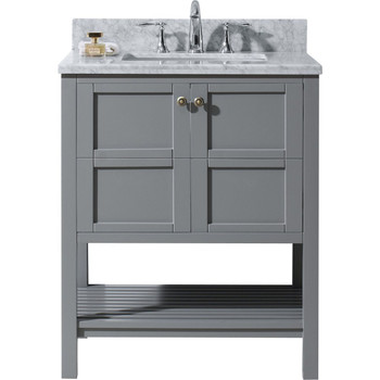 "Virtu USA-ES-30030-WMSQ-GR-NM-Winterfell 30"" Single Bathroom Vanity in Grey with Marble Top and Square Sink"