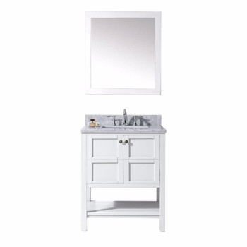 "Virtu USA-ES-30030-WMSQ-WH-Winterfell 30"" Single Bathroom Vanity in White with Marble Top and Square Sink with Mirror"