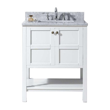 "Virtu USA-ES-30030-WMSQ-WH-NM-Winterfell 30"" Single Bathroom Vanity in White with Marble Top and Square Sink"