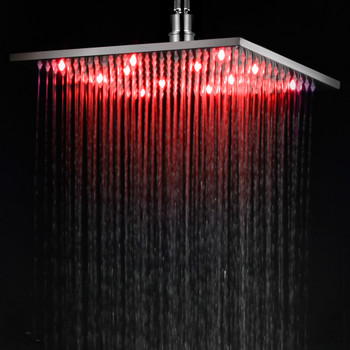 "ALFI brand LED12S-PC Polished Chrome 12"" Square Multi Color LED Rain Shower Head"