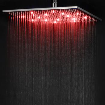 "ALFI brand LED16S-BN Brushed Nickel 16"" Square Multi Color LED Rain Shower Head"