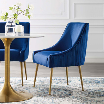 Discern Pleated Back Upholstered Performance Velvet Dining Chair EEI-3509-NAV