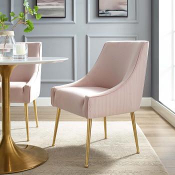 Discern Pleated Back Upholstered Performance Velvet Dining Chair EEI-3509-PNK