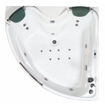 EAGO AM125ETL 5 ft Corner Acrylic White Whirlpool Bathtub for Two w Fixtures