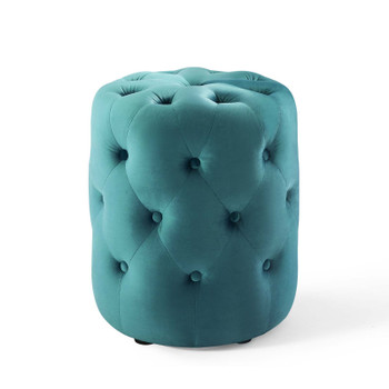 Amour Tufted Button Round Performance Velvet Ottoman EEI-3778-SEA Sea Blue