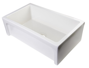 """ALFI brand AB3018ARCH-B  30"""" Biscuit Arched Apron Thick Wall Fireclay Single Bowl Farm Sink"""