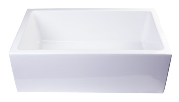 "ALFI brand AB3018SB-W  30"" White Smooth Apron Solid Thick Wall Fireclay Single Bowl Farm Sink"