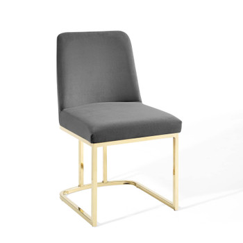 Amplify Sled Base Performance Velvet Dining Side Chair EEI-3810-GLD-GRY Gold Gray