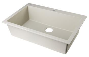 "ALFI brand AB3020DI-B Biscuit 30"" Drop-In Single Bowl Granite Composite Kitchen Sink"